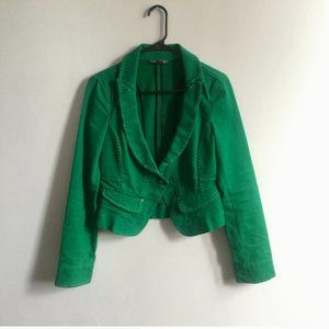 Armani Exchange A/X Green Denim Cropped Blazer